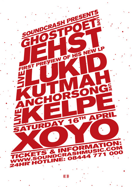 GenericVersion SoundcrashXOYOJun2011 A5Flyer Ghostpoet / Jehst / Kutmah / Kelpe at XOYO, April 16th Flyer