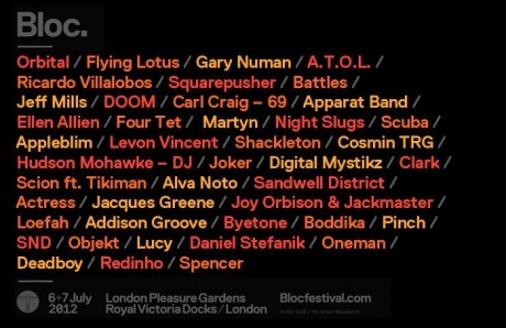 Bloc 2012: Line-up so far