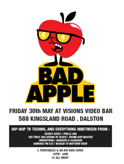 badapplemay Drums of Death & OMGWTFBBQ Podcast + Bad Apple Night at Visions Video, Dalston   May 30th